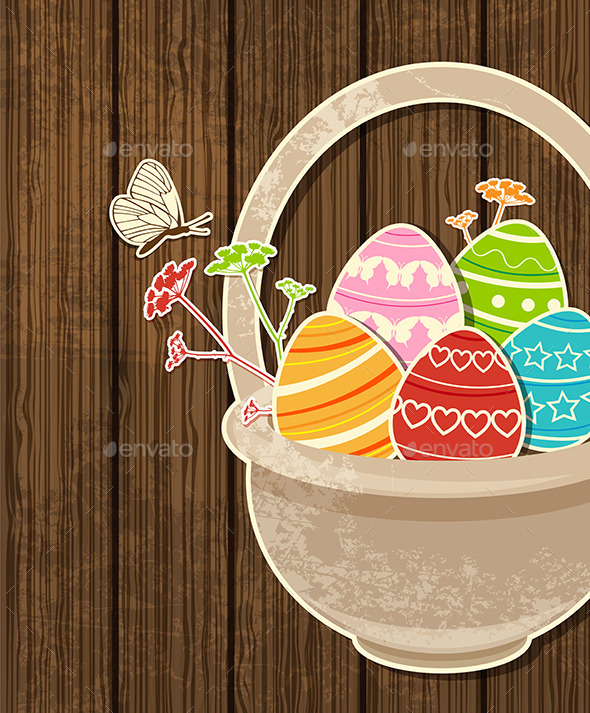 Easter Background with Eggs in Basket - Religion Conceptual