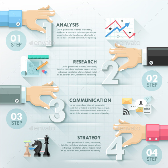 Business Hands Teamwork Infographics Template - Infographics