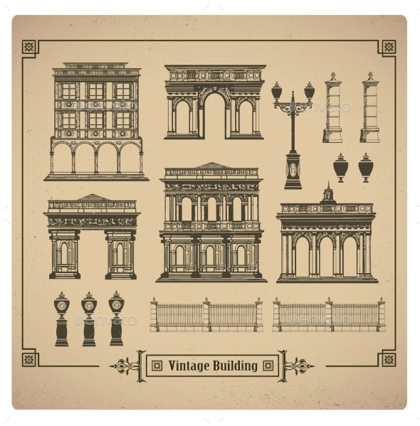 Retro Buildings - Decorative Symbols Decorative