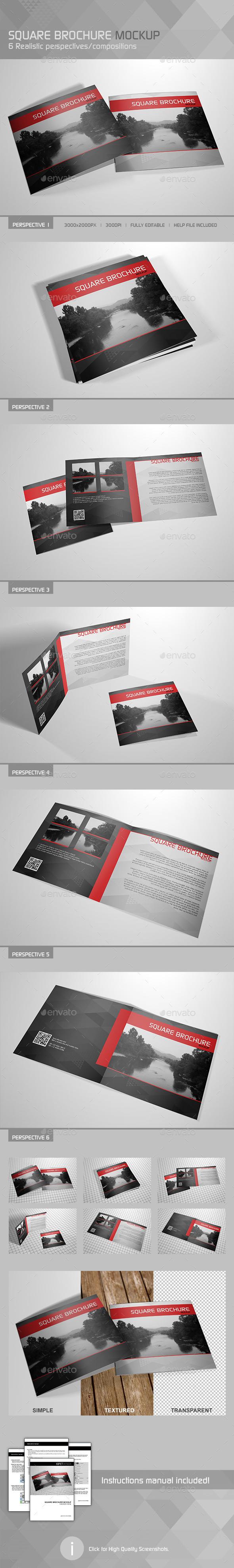 Realistic Square Brochure Mockup - Brochures Print