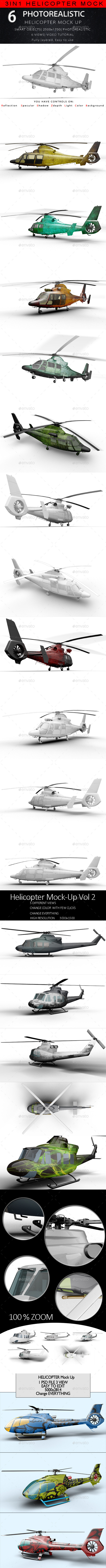 3in1 Bundle Helicopter Mock Up - Product Mock-Ups Graphics