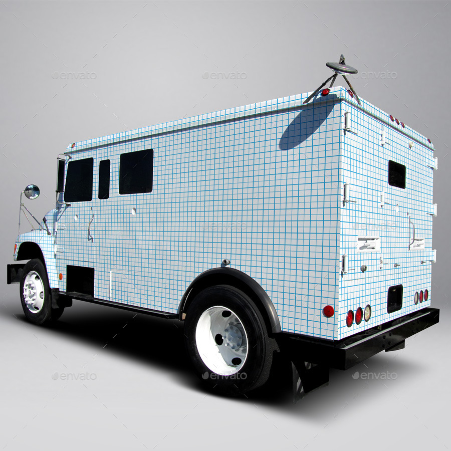 Ford F800 Armored Truck Wrap MockUp By Pascau