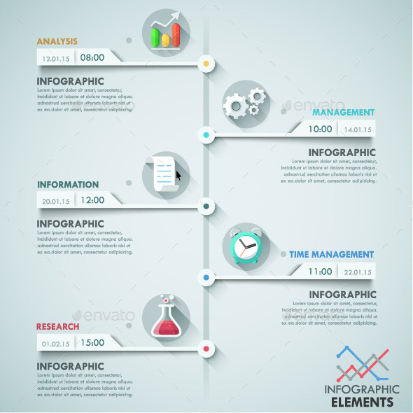 Modern Infographic Paper Timeline - Infographics