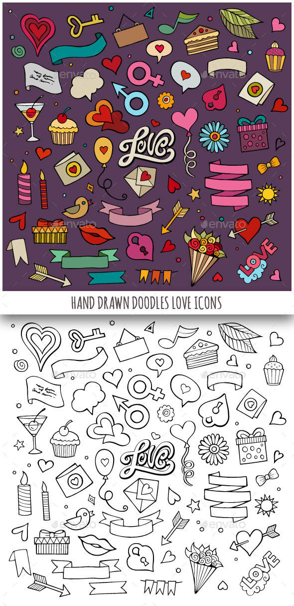 Hand Drawn Love Doodles Icons - Objects Vectors