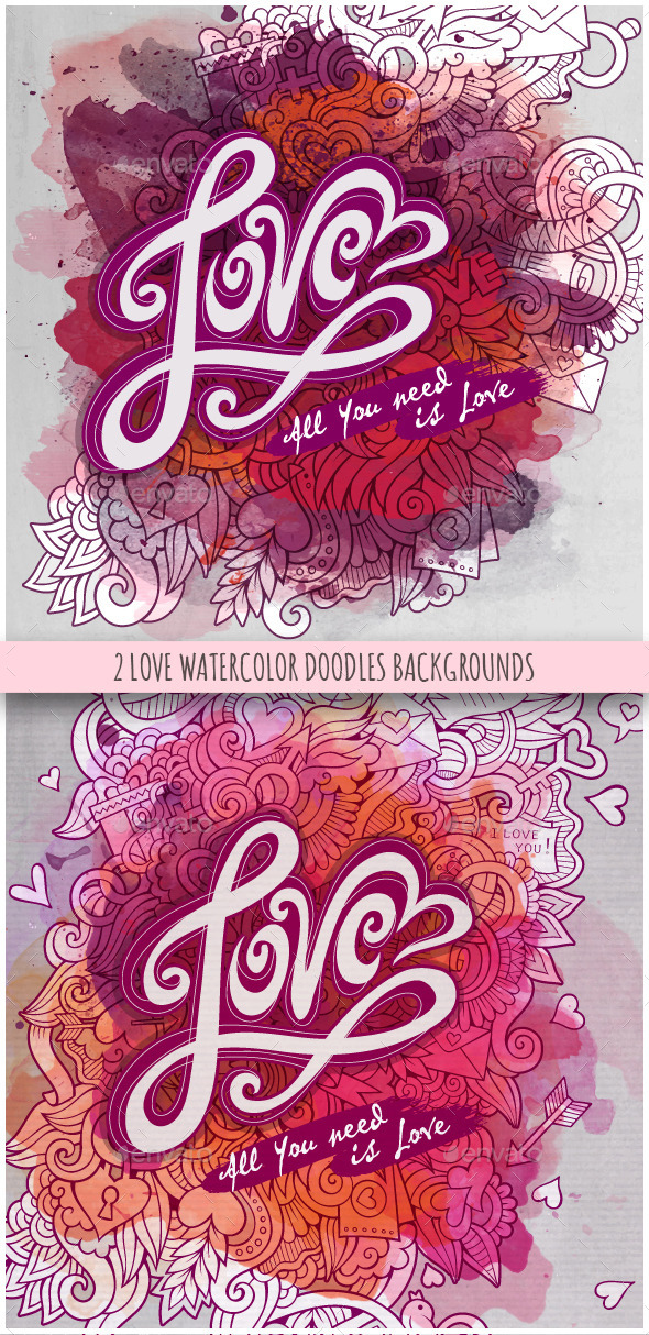 Love Cards Watercolor Design - Seasons/Holidays Conceptual