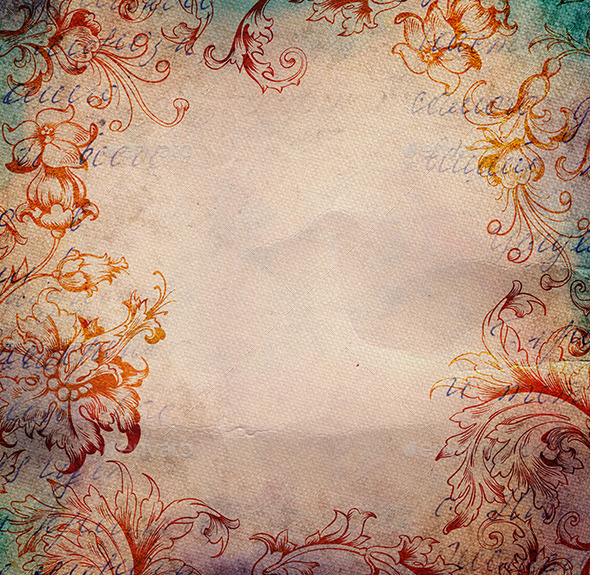 Vintage Background with Floral Ornament  - Paper Textures