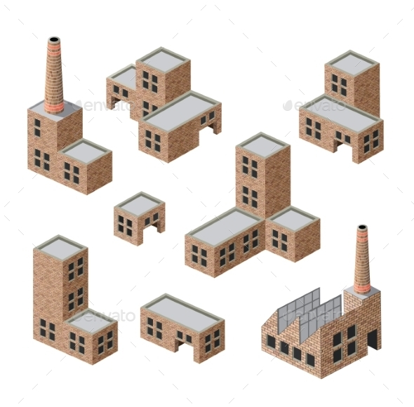 Brick Buildings - Buildings Objects