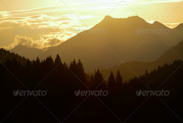 Alpine sunset - Stock Photo - Images