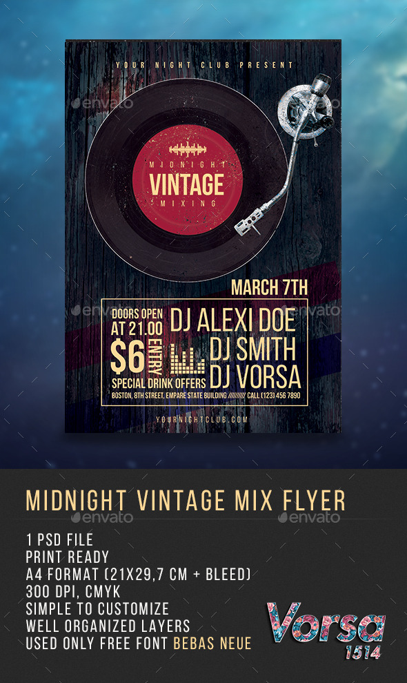 Midnight Vintage Mix Flyer - Clubs & Parties Events