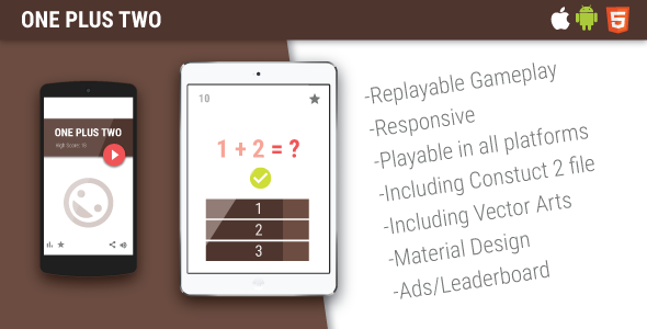 One Plus Two - HTML5 Mobile Game - CodeCanyon Item for Sale