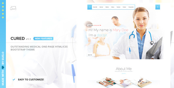 Cured – Medical One Page Bootstrap HTML/CSS Theme