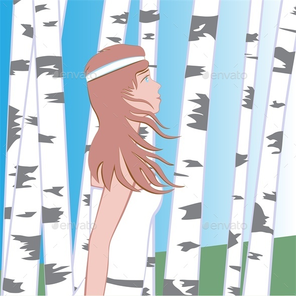 Girl Between Birches - People Characters