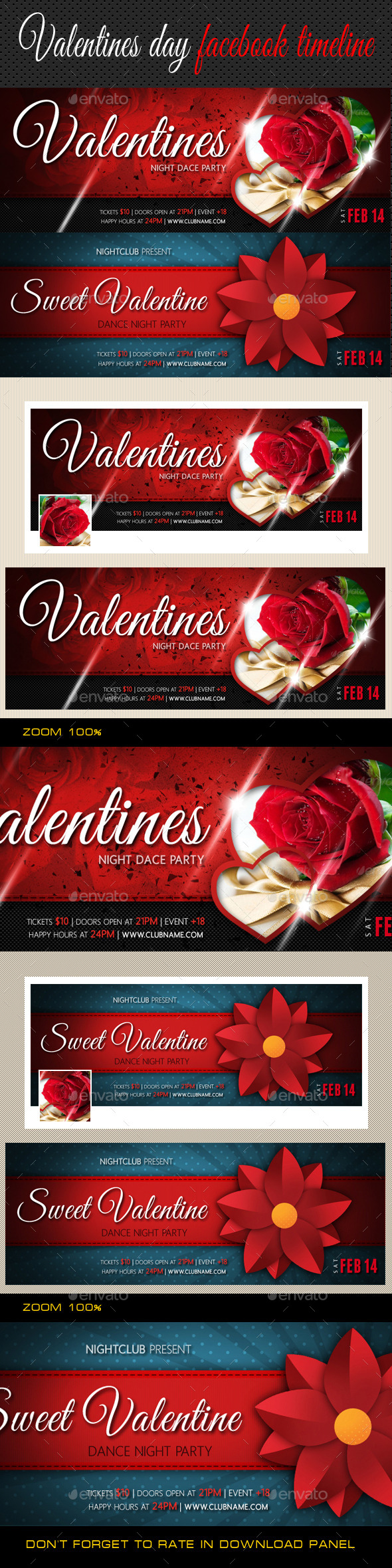 Valentines Day Facebook Cover Bundle - Facebook Timeline Covers Social Media