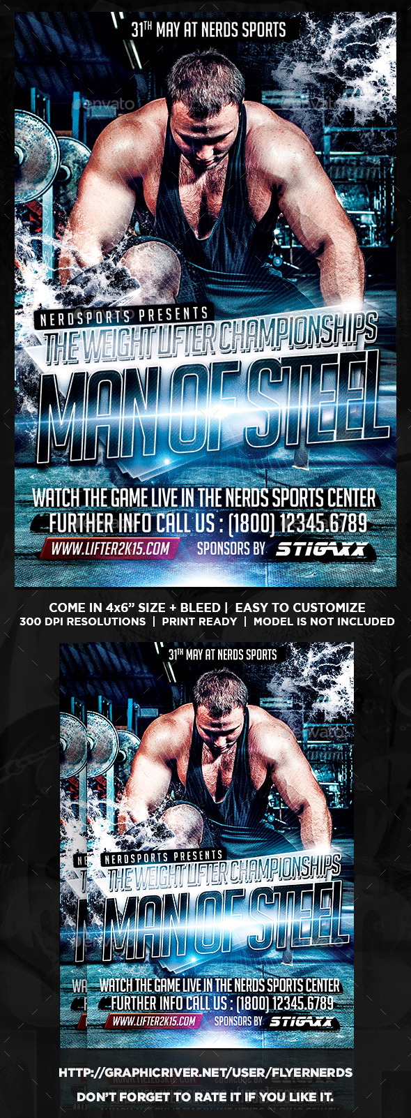 Man Of Steel Championships Sports Flyer - Sports Events