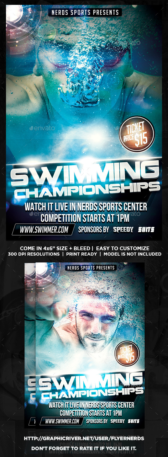Swimming 2K15 Championships Sports Flyer - Sports Events