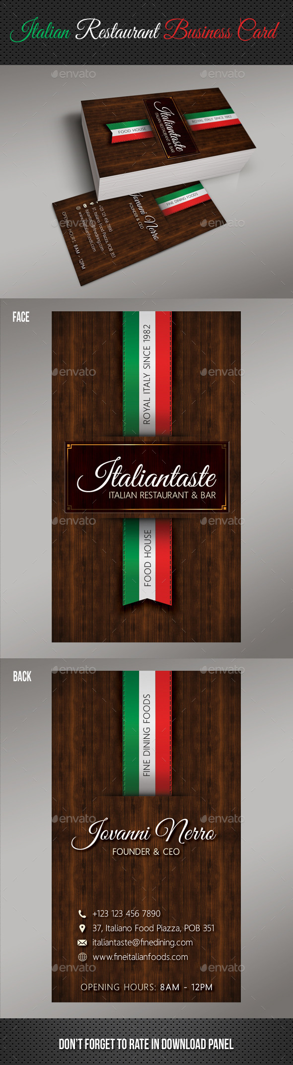 Italian restaurant business card by rapidgraf graphicriver italian restaurant business card industry specific business cards colourmoves