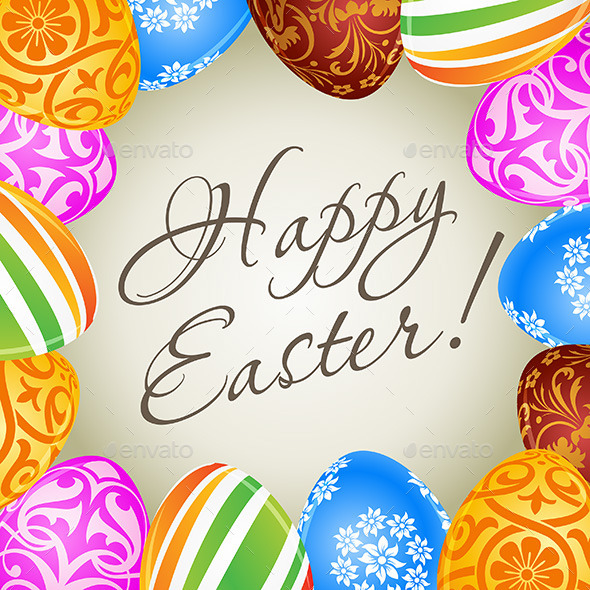 Easter Card with Decorated Eggs - Seasons/Holidays Conceptual
