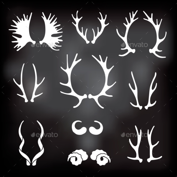 Horns Silhouettes Set - Organic Objects Objects