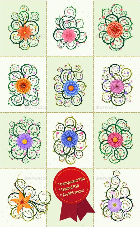 Floral Ornament Vector Bundle - Flourishes / Swirls Decorative