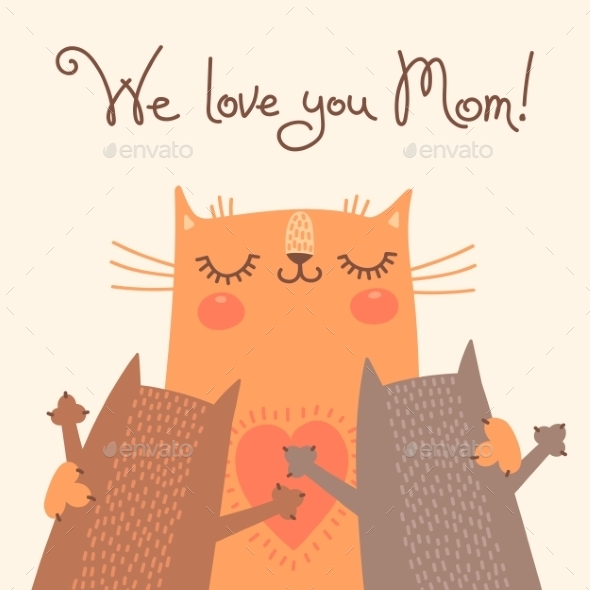 Card for Mothers Day with Cats - Seasons/Holidays Conceptual