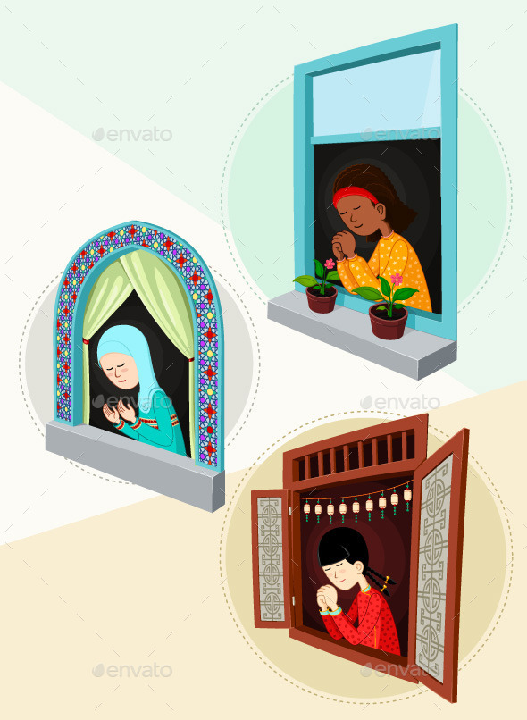 Praying Girl Illustration Bundle - Religion Conceptual