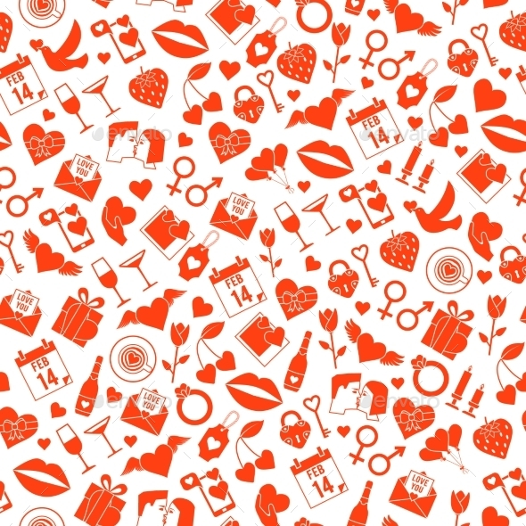 Valentines Day Love Seamless Pattern - Valentines Seasons/Holidays
