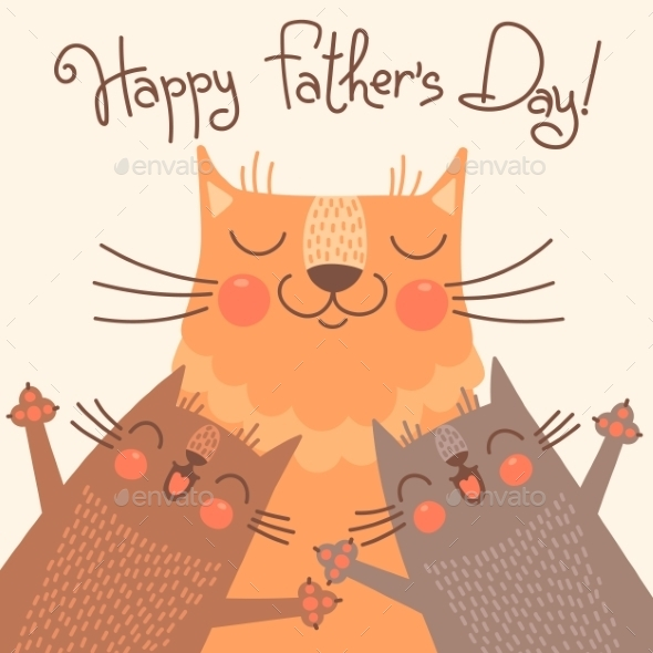 Card for Fathers Day with Cats - Miscellaneous Seasons/Holidays
