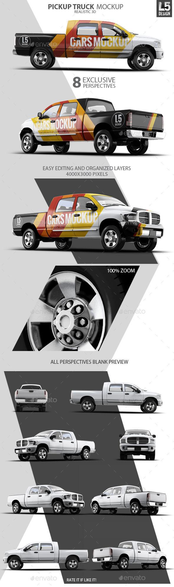 Pickup Truck Mock-Up - Vehicle Wraps Print