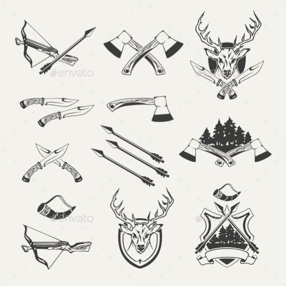 Set of Hunt Emblems, Badges, Labels and Designed - Abstract Conceptual