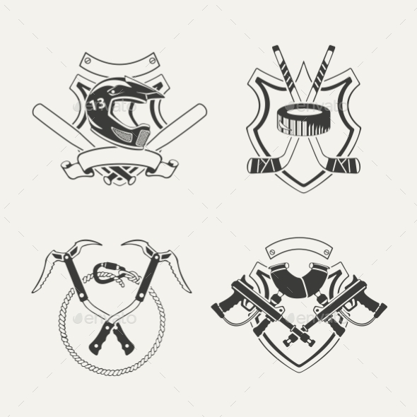 Set of Extreme Sports Emblems, Badges, Labels - Abstract Conceptual