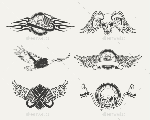 Set of Motorcycle Emblems, Badges, Labels and Design - Abstract Conceptual