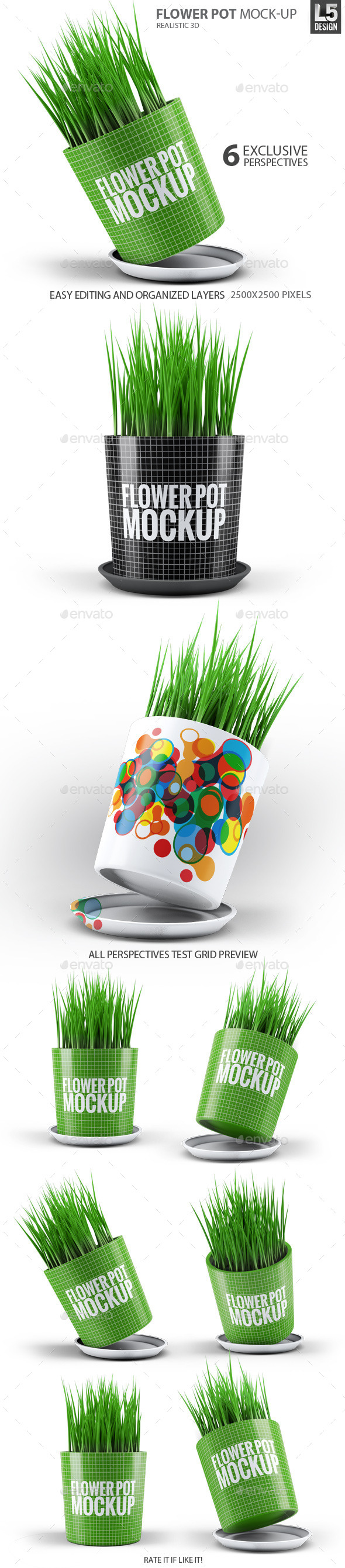 Flower Pot Mock-Up - Product Mock-Ups Graphics