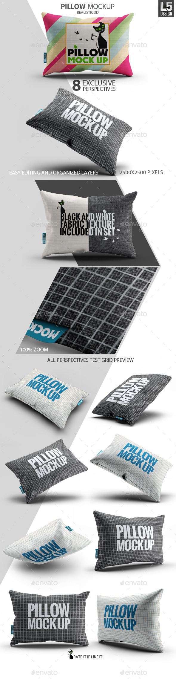 Fabric Pillow Mock-Up - Miscellaneous Product Mock-Ups