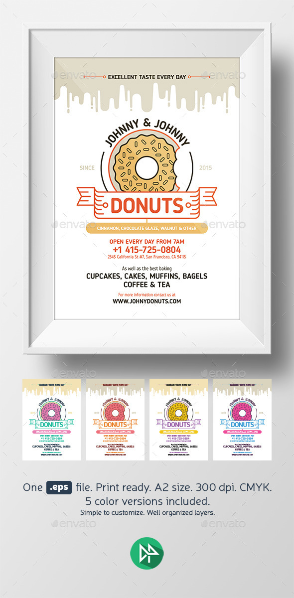 Donuts Poster Template - Restaurant Flyers