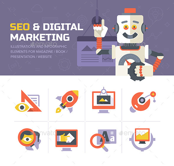 SEO & Digital Marketing Icons - Web Technology