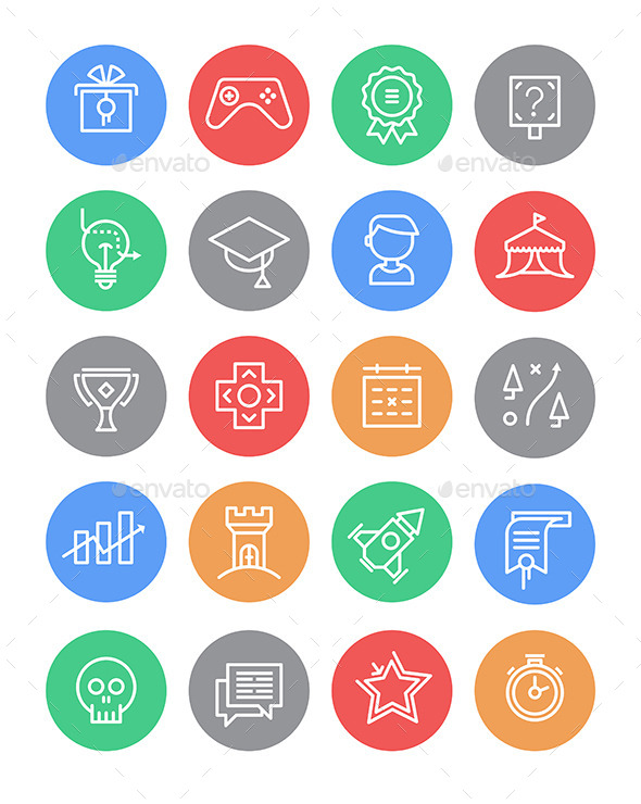Set of Gamification Icons - Media Icons