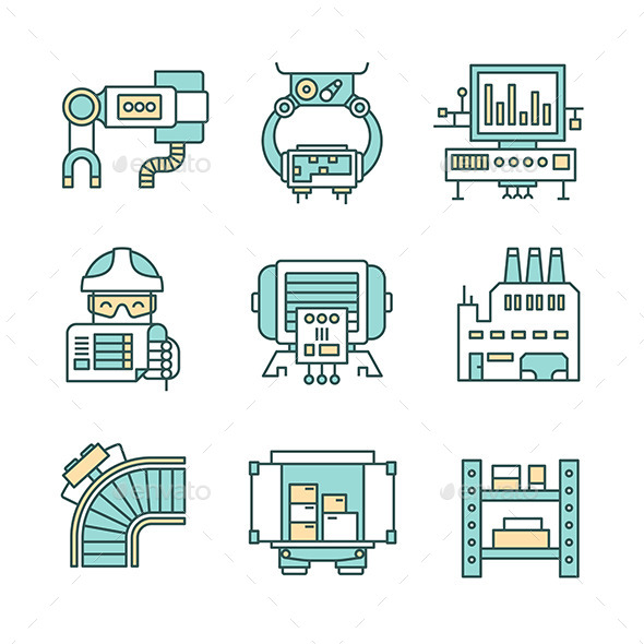 Manufacturing Process Icons - Industries Business