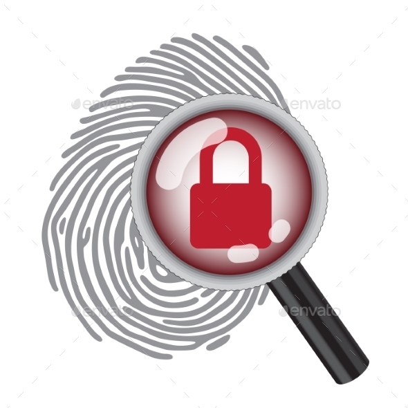 Finger Print with Magnifying Glass - Web Elements Vectors