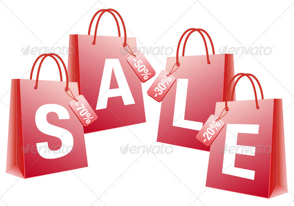 Sale Red Shopping Bags - Commercial / Shopping Conceptual