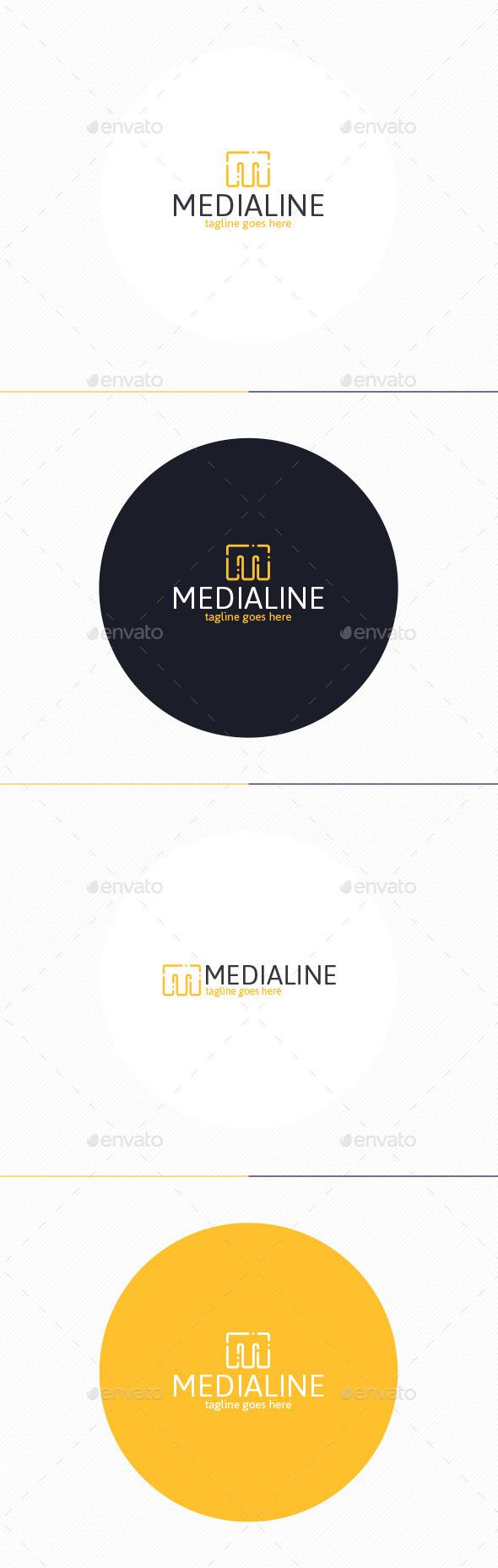 Media Line Logo • Letter M - Letters Logo Templates