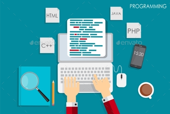 Programming Coding Flat Concept Illustration - Web Technology