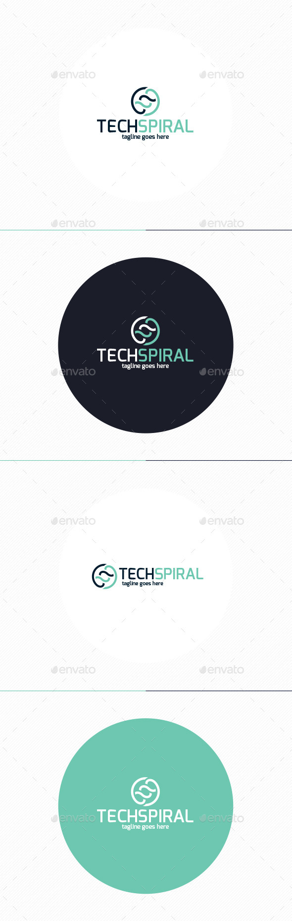 Tech Spiral Logo - Vector Abstract