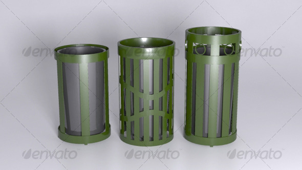 Outdoor Trash Receptacles - 3DOcean Item for Sale