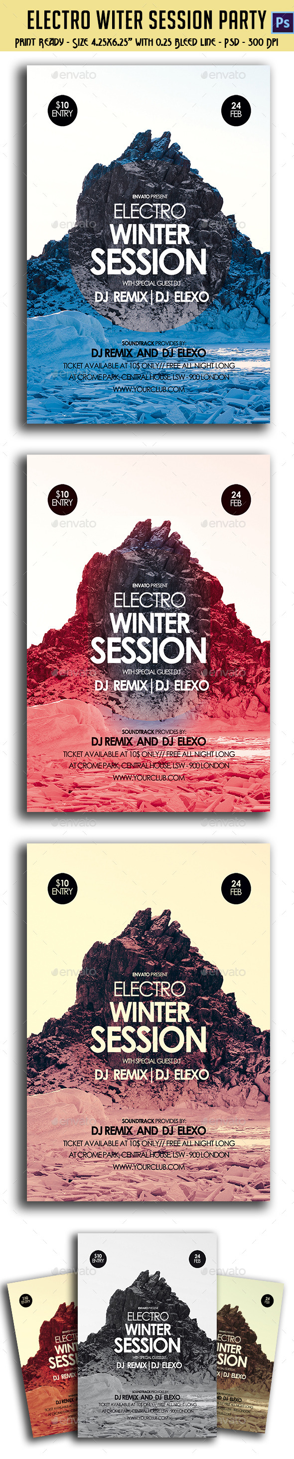 Electronic Winter Session Party Flyer - Clubs & Parties Events