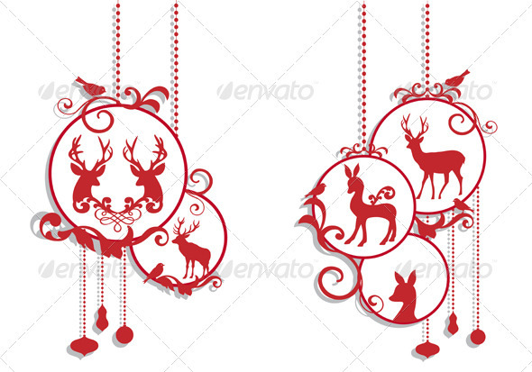 Christmas Balls With Deer - Christmas Seasons/Holidays