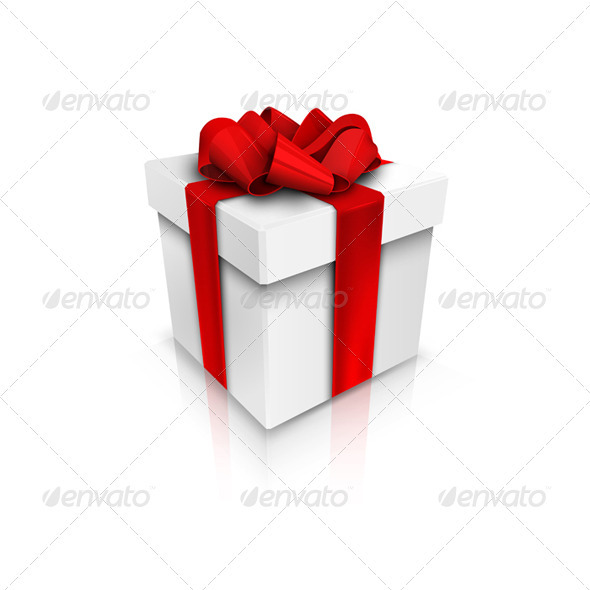 Gift Box with Red Ribbon Bow - Christmas Seasons/Holidays