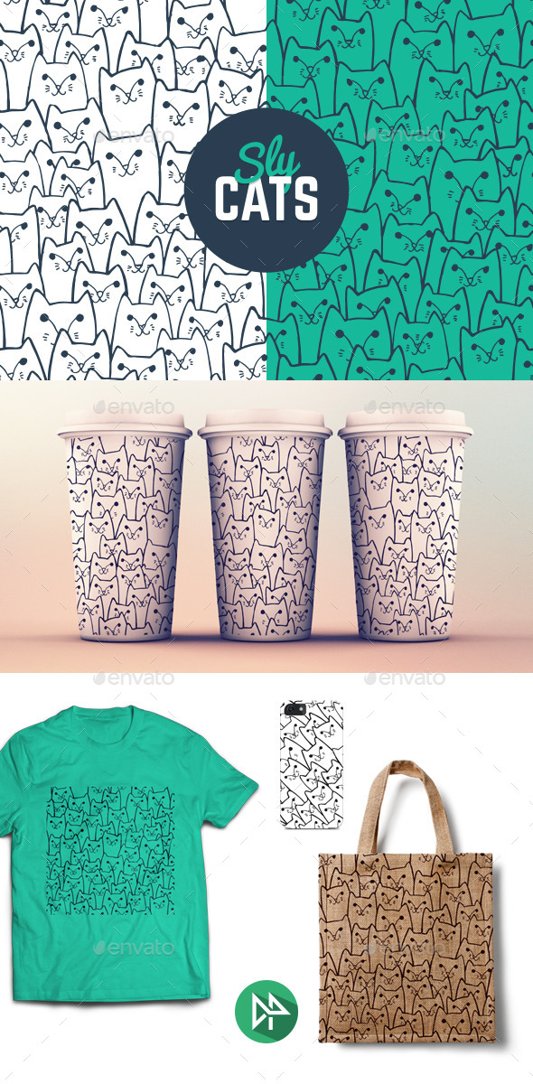 Sly Cats Pattern - Patterns Decorative