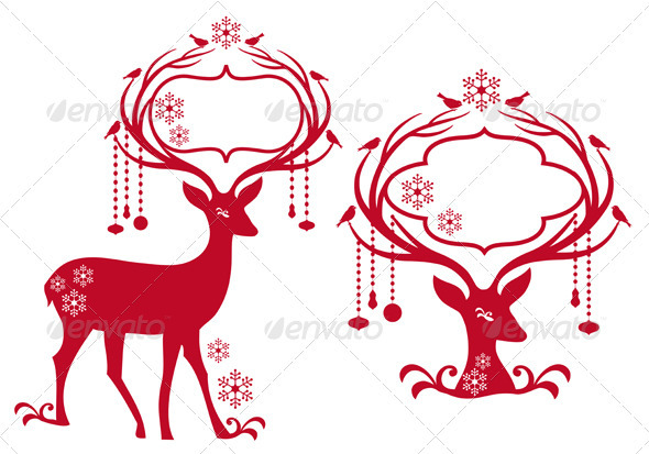 Christmas Frames with Reindeer - Christmas Seasons/Holidays
