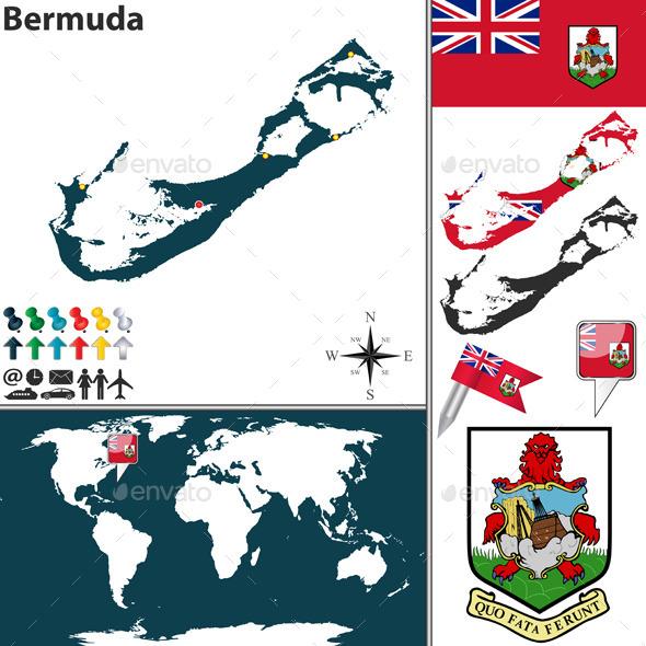 Map of Bermuda - Travel Conceptual