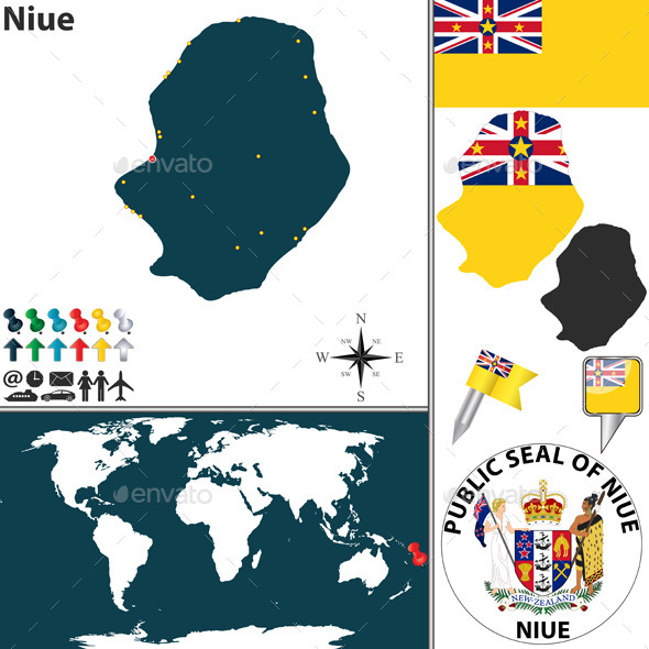 Map of Niue - Travel Conceptual